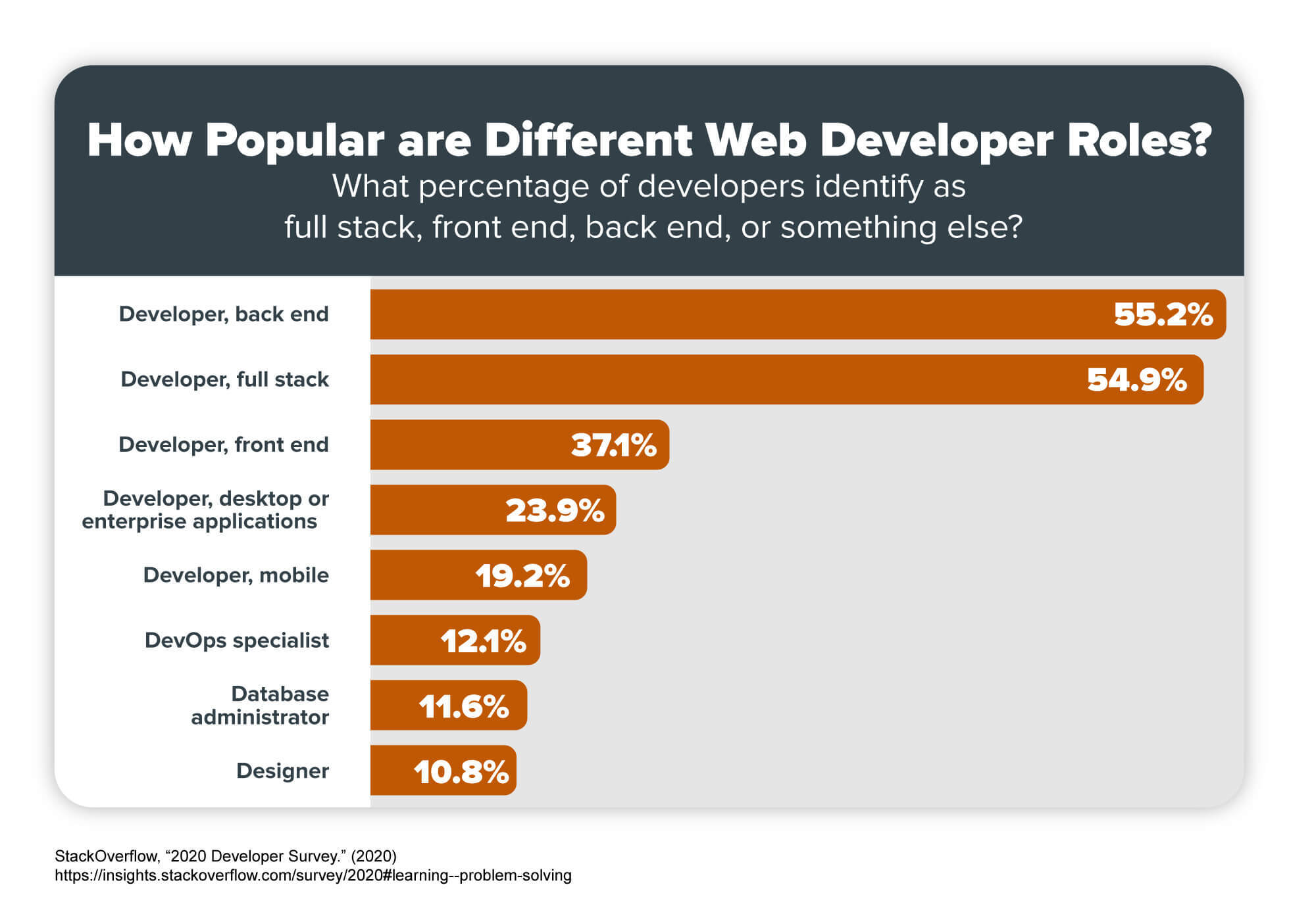 A chart that shows the percentage of developers who identify as full stack, front end, back end, or something else.